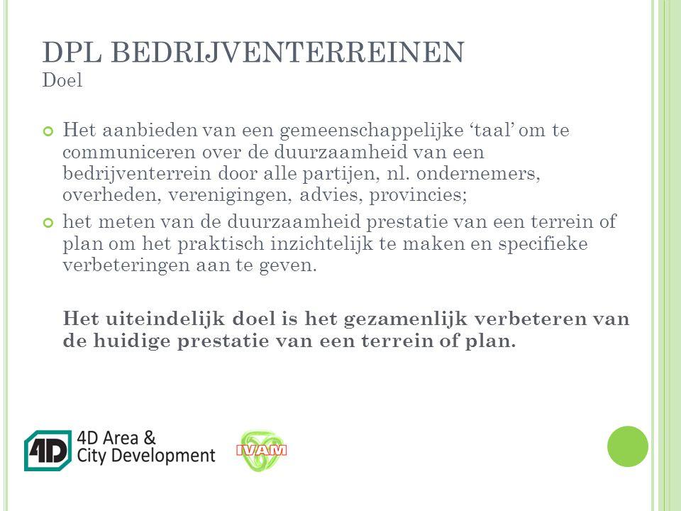 Het aanbieden van een gemeenschappelijke 'taal' om te communiceren over de duurzaamheid van een bedrijventerrein door alle partijen, nl.