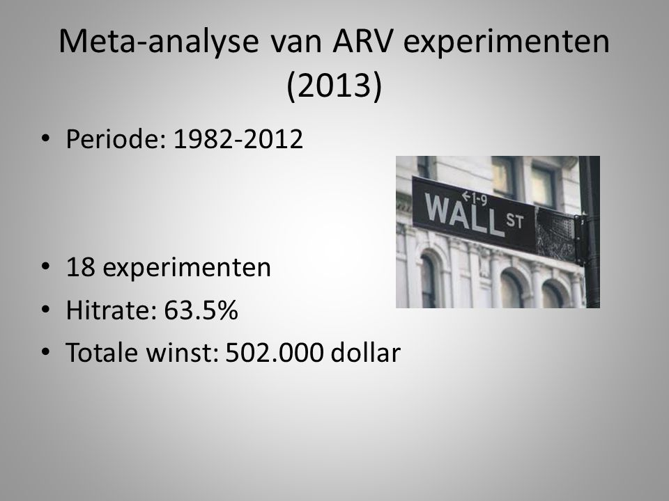 Meta-analyse van ARV experimenten (2013) Periode: 1982-2012 18 experimenten Hitrate: 63.5% Totale winst: 502.000 dollar