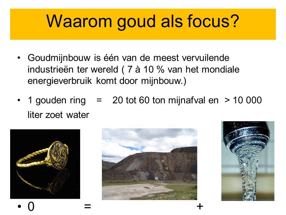 Focus op goudmijnbouw Goudmijnbouw is één van de meest vervuilende industrieën ter wereld ( 7 à 10 % van het mondiale energieverbruik komt door mijnbouw.) 1 gouden ring = 20 tot 60 ton mijnafval en > 10 000 liter zoet water 0=+ Waarom goud als focus?
