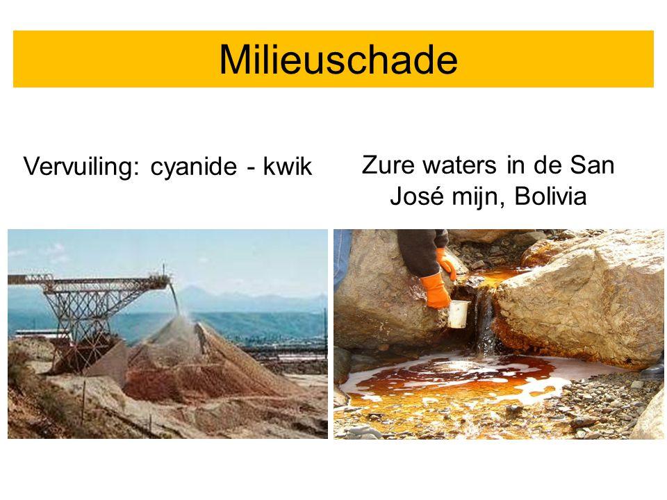 Milieuschade Vervuiling: cyanide - kwik Zure waters in de San José mijn, Bolivia