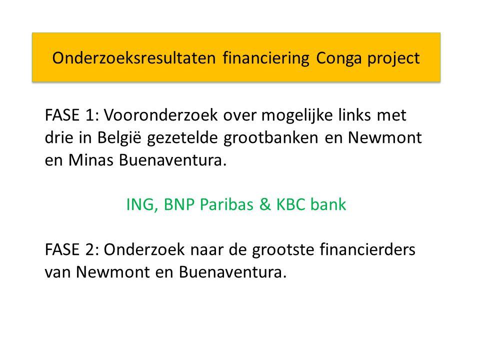 Onderzoeksresultaten financiering Conga project FASE 1: Vooronderzoek over mogelijke links met drie in België gezetelde grootbanken en Newmont en Minas Buenaventura.