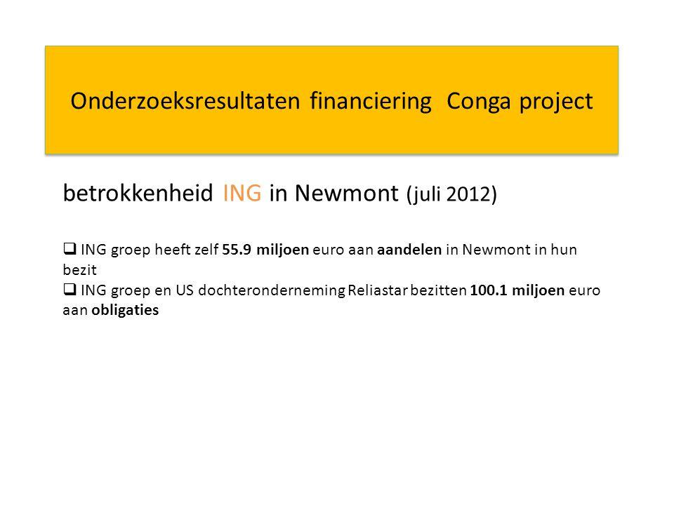 Onderzoeksresultaten financiering Conga project betrokkenheid ING in Newmont (juli 2012)  ING groep heeft zelf 55.9 miljoen euro aan aandelen in Newmont in hun bezit  ING groep en US dochteronderneming Reliastar bezitten 100.1 miljoen euro aan obligaties