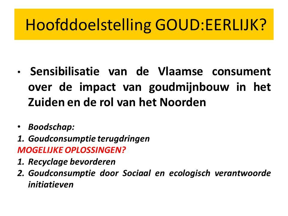 Sensibilisatie van de Vlaamse consument over de impact van goudmijnbouw in het Zuiden en de rol van het Noorden Boodschap: 1.Goudconsumptie terugdringen MOGELIJKE OPLOSSINGEN.