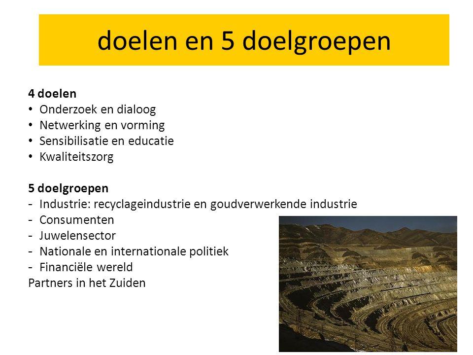 4 doelen Onderzoek en dialoog Netwerking en vorming Sensibilisatie en educatie Kwaliteitszorg 5 doelgroepen - Industrie: recyclageindustrie en goudverwerkende industrie - Consumenten - Juwelensector - Nationale en internationale politiek - Financiële wereld Partners in het Zuiden doelen en 5 doelgroepen