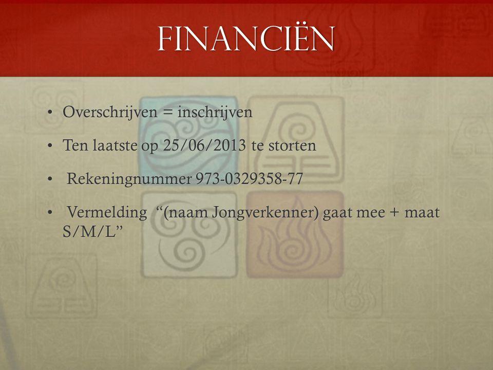 Financiën Overschrijven = inschrijvenOverschrijven = inschrijven Ten laatste op 25/06/2013 te stortenTen laatste op 25/06/2013 te storten Rekeningnumm