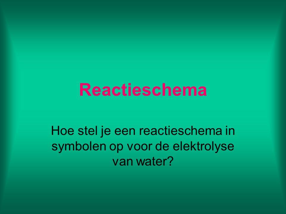 Reactieschema Hoe stel je een reactieschema in symbolen op voor de elektrolyse van water?