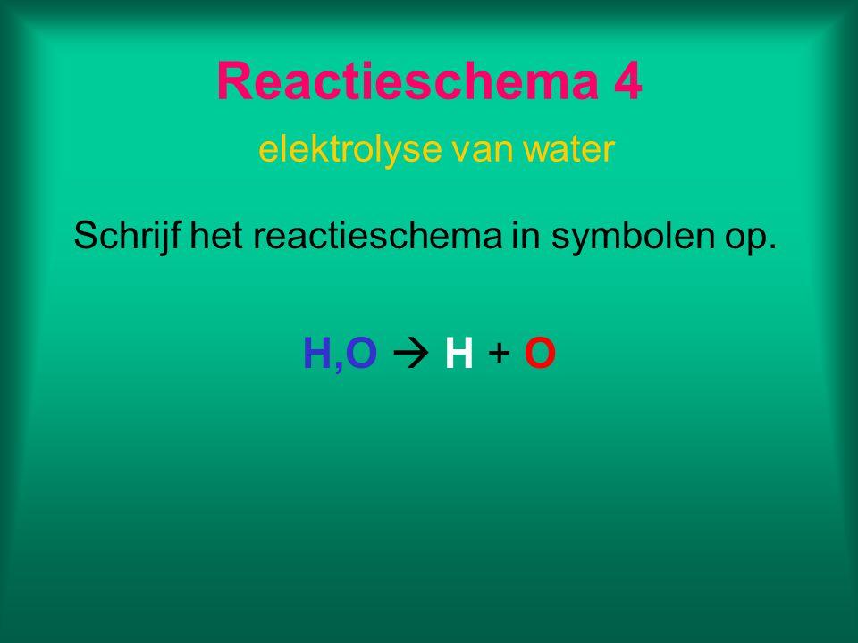 Reactieschema 4 elektrolyse van water Schrijf het reactieschema in symbolen op. H,O  H + O