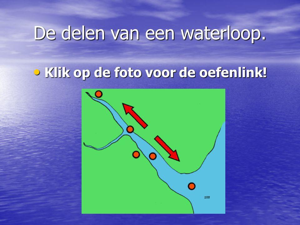 De delen van een waterloop. Klik op de foto voor de oefenlink! Klik op de foto voor de oefenlink!