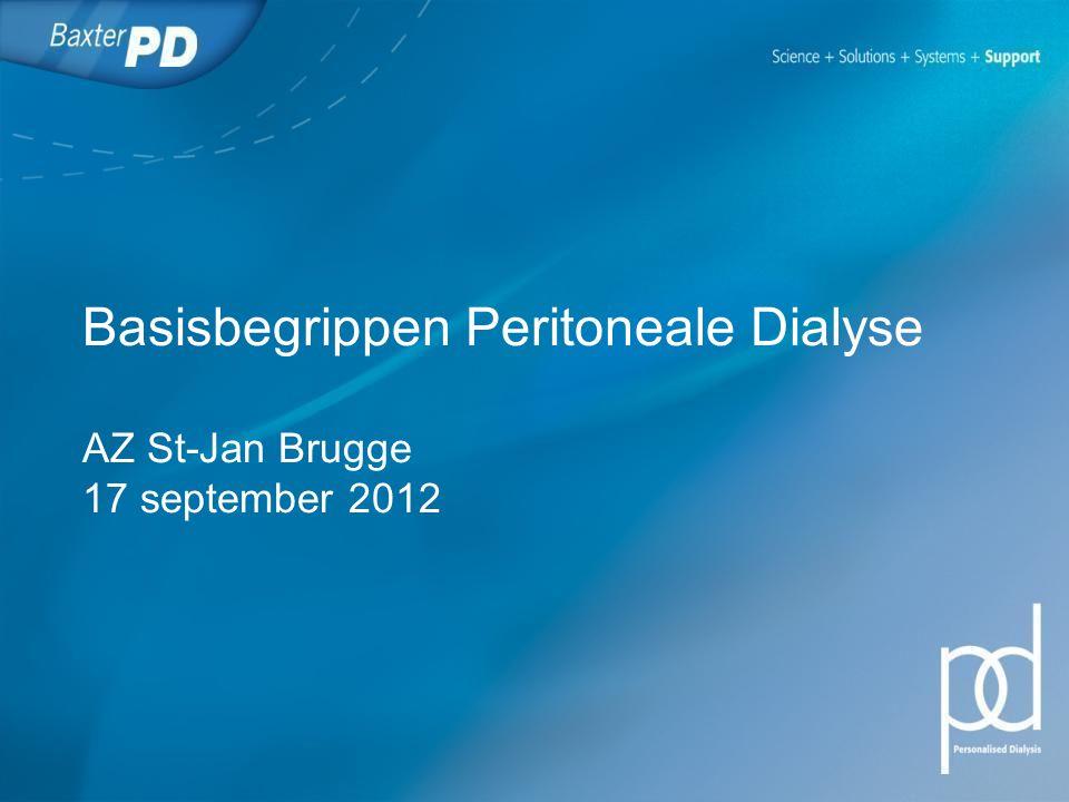 Peritoneale Dialyse (PD) PD is een vorm van nierfunctie-vervangende therapie waarbij het buikvlies (peritoneum) van de patiënt gebruikt wordt als filter voor de verwijdering van afvalstoffen en overtollig vocht.
