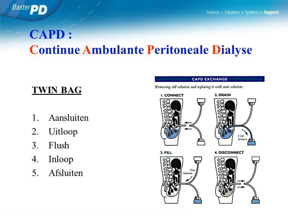 TWIN BAG 1.Aansluiten 2.Uitloop 3.Flush 4.Inloop 5.Afsluiten CAPD : Continue Ambulante Peritoneale Dialyse