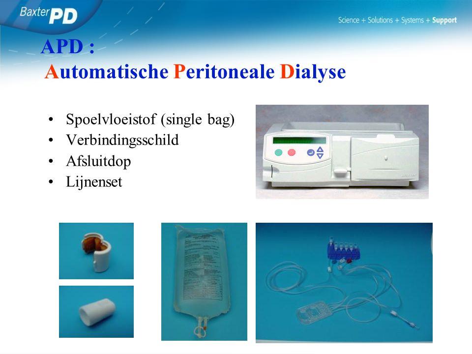 Spoelvloeistof (single bag) Verbindingsschild Afsluitdop Lijnenset APD : Automatische Peritoneale Dialyse