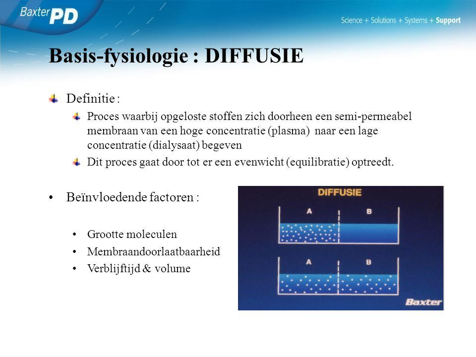 Definitie : Proces waarbij water zich doorheen een semi-permeabel membraan van een lage concentratie (plasma) naar een hoge concentratie (dialysaat) begeven Het resultaat of ultrafiltraat is afhankelijk van een drukgradiënt.