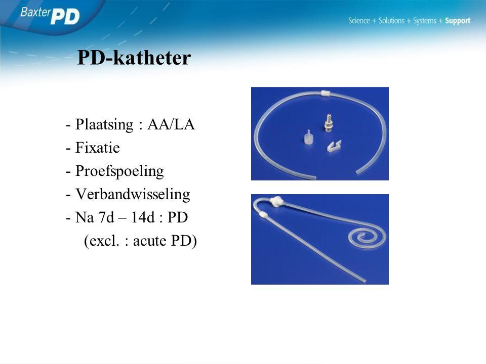 - Plaatsing : AA/LA - Fixatie - Proefspoeling - Verbandwisseling - Na 7d – 14d : PD (excl. : acute PD) PD-katheter