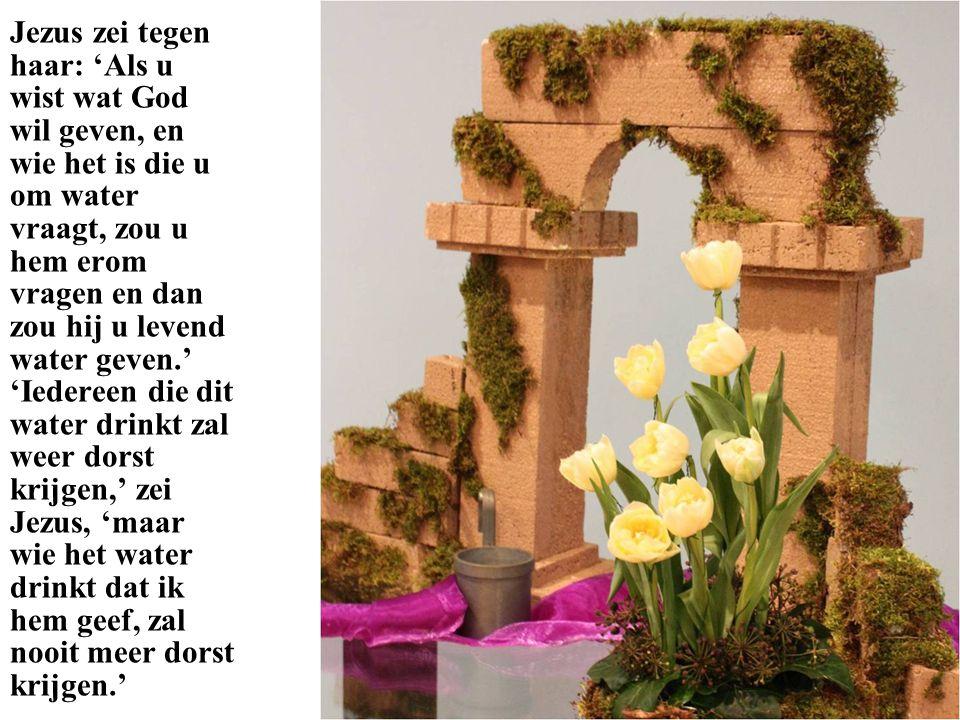 Jezus zei tegen haar: 'Als u wist wat God wil geven, en wie het is die u om water vraagt, zou u hem erom vragen en dan zou hij u levend water geven.' 'Iedereen die dit water drinkt zal weer dorst krijgen,' zei Jezus, 'maar wie het water drinkt dat ik hem geef, zal nooit meer dorst krijgen.'
