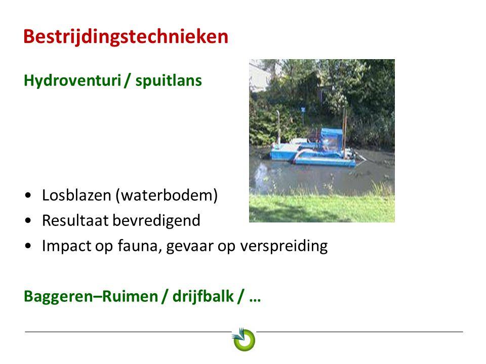 Bestrijdingstechnieken Hydroventuri / spuitlans Losblazen (waterbodem) Resultaat bevredigend Impact op fauna, gevaar op verspreiding Baggeren–Ruimen /