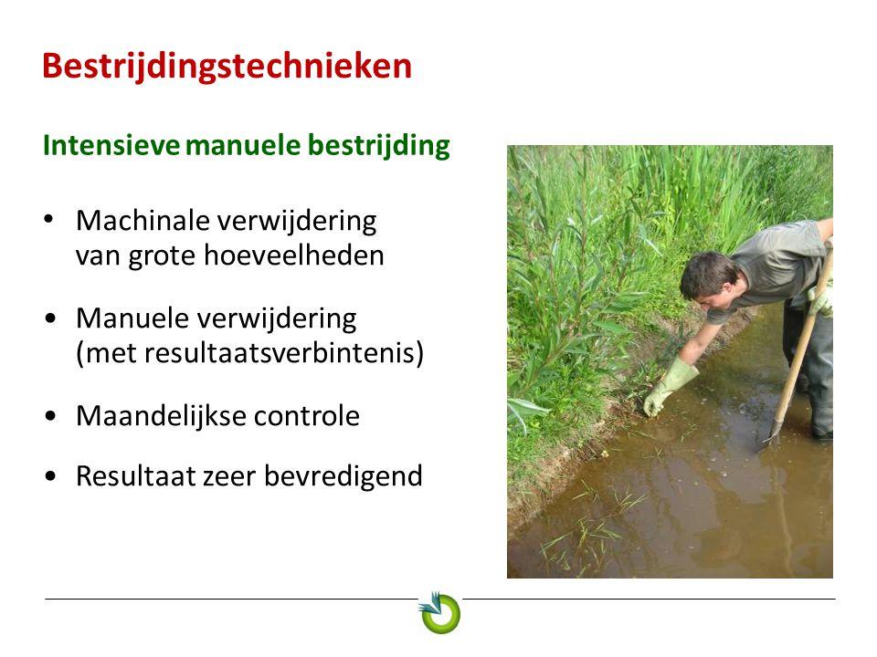 Bestrijdingstechnieken Intensieve manuele bestrijding Machinale verwijdering van grote hoeveelheden Manuele verwijdering (met resultaatsverbintenis) M