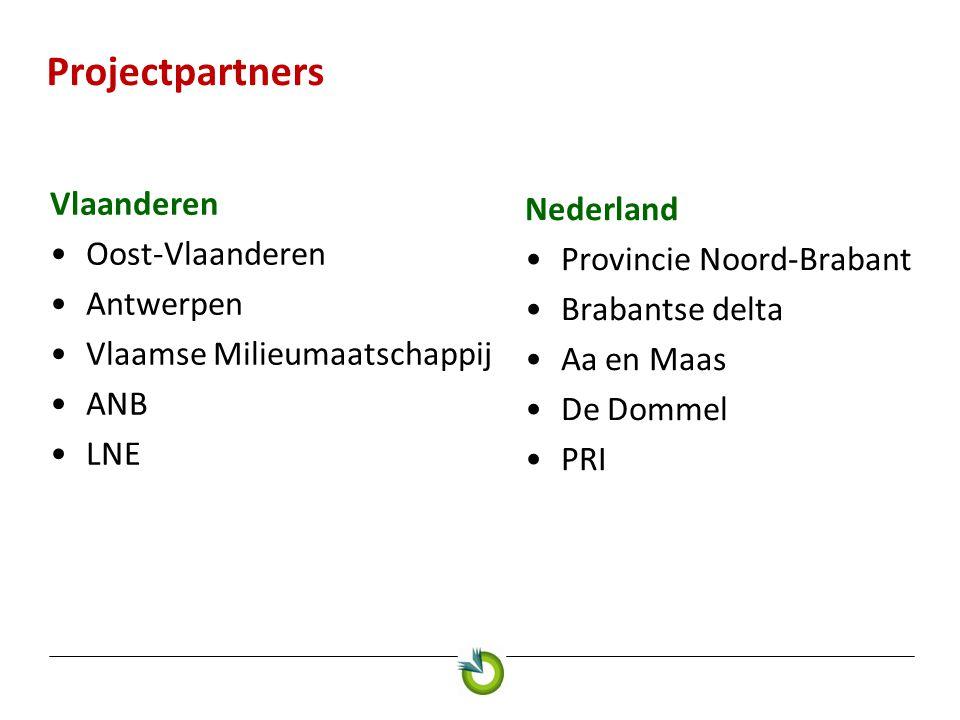 Projectpartners Vlaanderen Oost-Vlaanderen Antwerpen Vlaamse Milieumaatschappij ANB LNE Nederland Provincie Noord-Brabant Brabantse delta Aa en Maas D