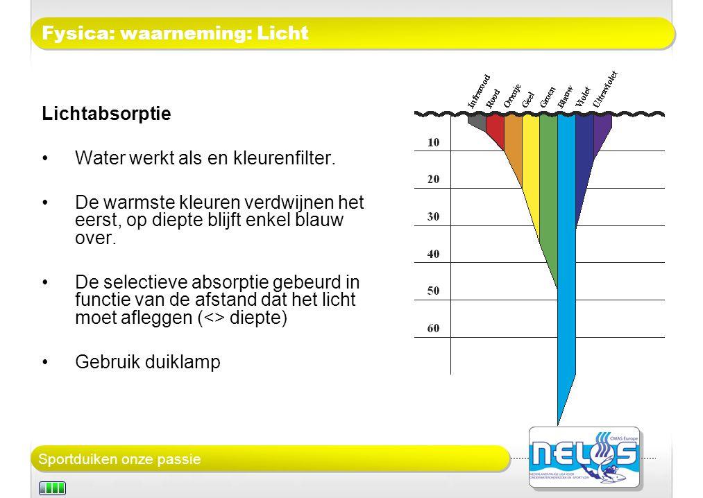 Sportduiken onze passie Fysica: waarneming: Licht Lichtabsorptie Water werkt als en kleurenfilter.