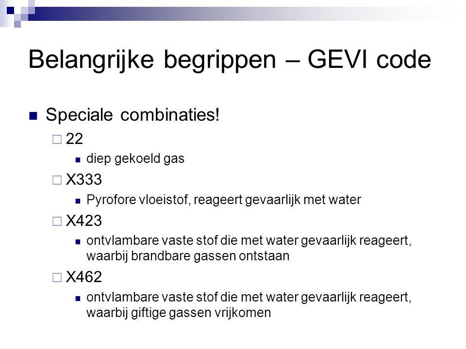 Belangrijke begrippen – GEVI code Speciale combinaties!  22 diep gekoeld gas  X333 Pyrofore vloeistof, reageert gevaarlijk met water  X423 ontvlamb