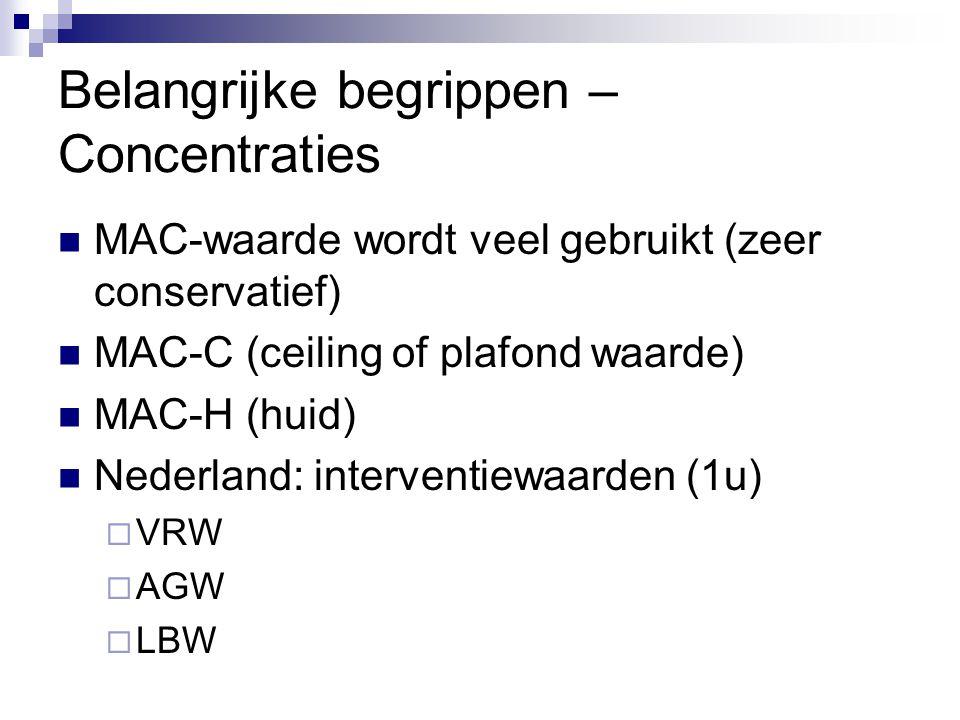 Belangrijke begrippen – Concentraties MAC-waarde wordt veel gebruikt (zeer conservatief) MAC-C (ceiling of plafond waarde) MAC-H (huid) Nederland: int