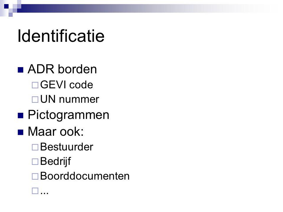 Identificatie ADR borden  GEVI code  UN nummer Pictogrammen Maar ook:  Bestuurder  Bedrijf  Boorddocumenten ...