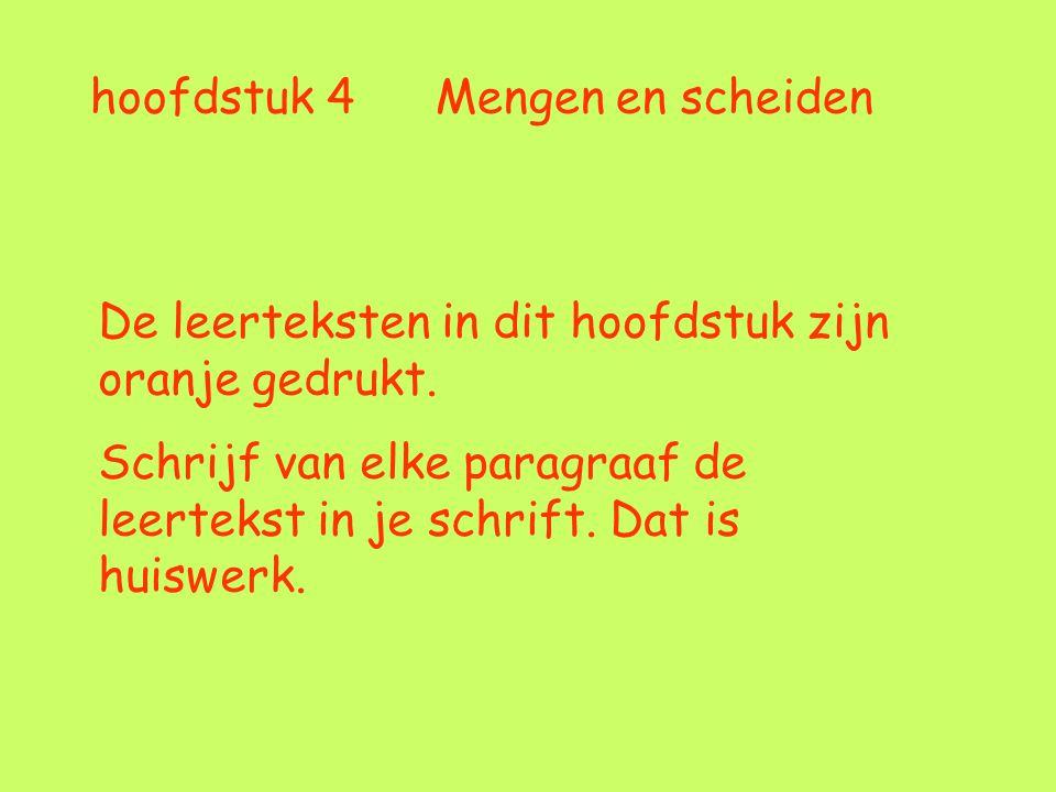 hoofdstuk 4 Mengen en scheiden De leerteksten in dit hoofdstuk zijn oranje gedrukt. Schrijf van elke paragraaf de leertekst in je schrift. Dat is huis