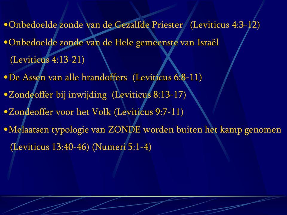 Onbedoelde zonde van de Gezalfde Priester (Leviticus 4:3-12) Onbedoelde zonde van de Hele gemeenste van Israël (Leviticus 4:13-21) De Assen van alle b
