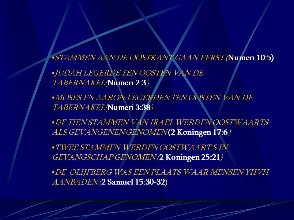STAMMEN AAN DE OOSTKANT GAAN EERST (Numeri 10:5) JUDAH LEGERDE TEN OOSTEN VAN DE TABERNAKEL(Numeri 2:3) MOSES EN AARON LEGERDEN TEN OOSTEN VAN DE TABE