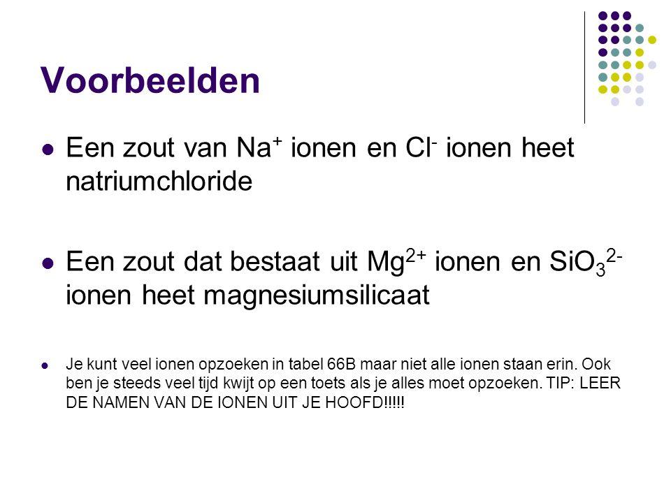Voorbeelden Een zout van Na + ionen en Cl - ionen heet natriumchloride Een zout dat bestaat uit Mg 2+ ionen en SiO 3 2- ionen heet magnesiumsilicaat J