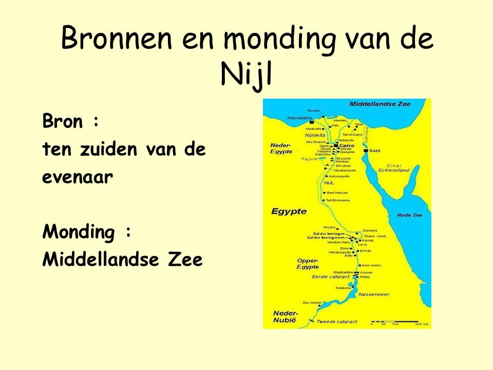 Bronnen en monding van de Nijl Bron : ten zuiden van de evenaar Monding : Middellandse Zee