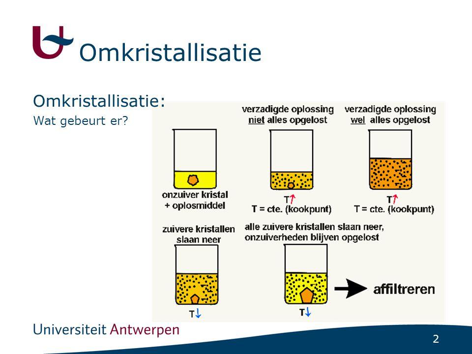 3 Omkristallisatie: Criteria (reeds voldaan in het practicum): 1.Solvent mag niet reageren met de verbinding 2.Verbinding zo weinig mogelijk oplosbaar bij kamertemperatuur 3.Verbinding goed oplosbaar bij kooktemperatuur solvent 4.Kookpunt solvent lager dan smeltpunt produkt Omkristallisatie