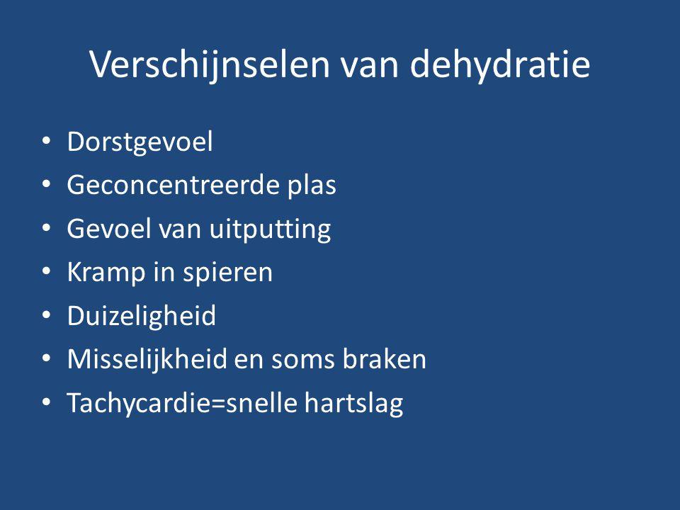 Verschijnselen van dehydratie Dorstgevoel Geconcentreerde plas Gevoel van uitputting Kramp in spieren Duizeligheid Misselijkheid en soms braken Tachycardie=snelle hartslag