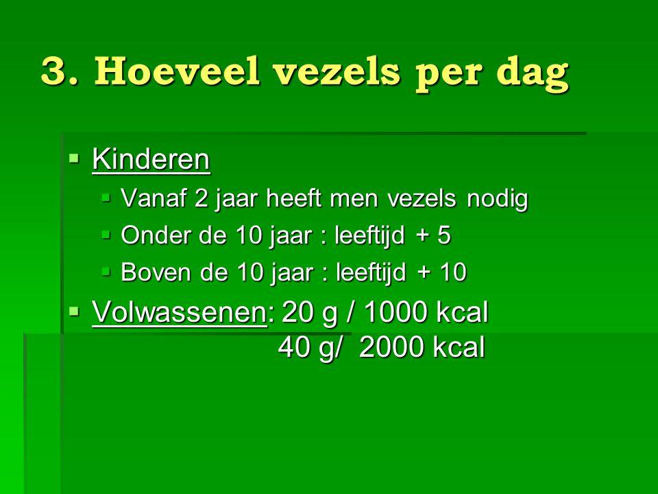 4.Soorten vezels  Oplosbare vezels: vooral pectines in groenten, fruit, peulvruchten.