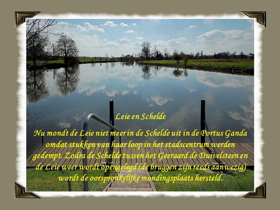 Leie en Schelde Nu mondt de Leie niet meer in de Schelde uit in de Portus Ganda omdat stukken van haar loop in het stadscentrum werden gedempt.