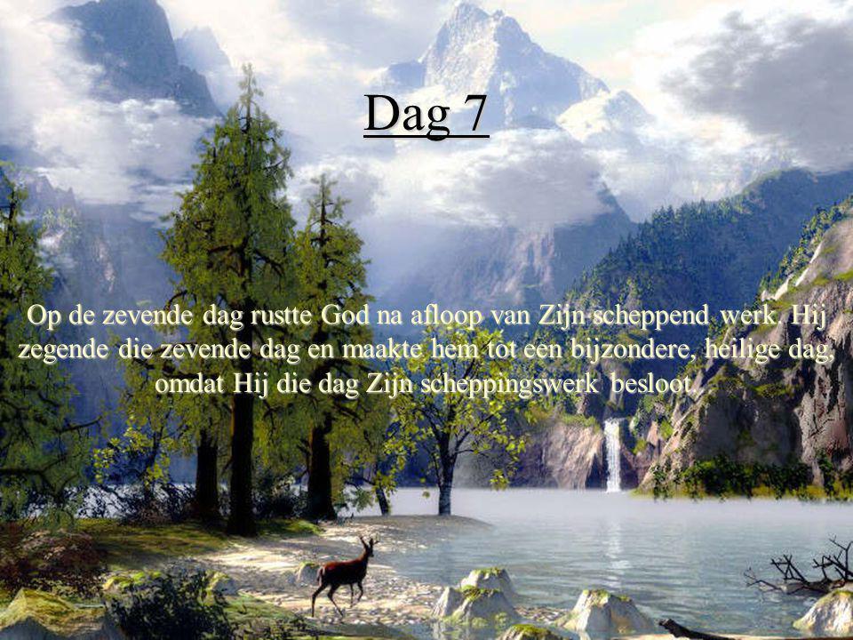 Dag 7 Op de zevende dag rustte God na afloop van Zijn scheppend werk. Hij zegende die zevende dag en maakte hem tot een bijzondere, heilige dag, omdat