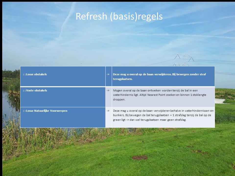 Refresh (basis)regels : : Losse obstakels-> Deze mag u overal op de baan verwijderen. Bij bewegen zonder straf terugplaatsen. : : Vaste obstakels-> Mo
