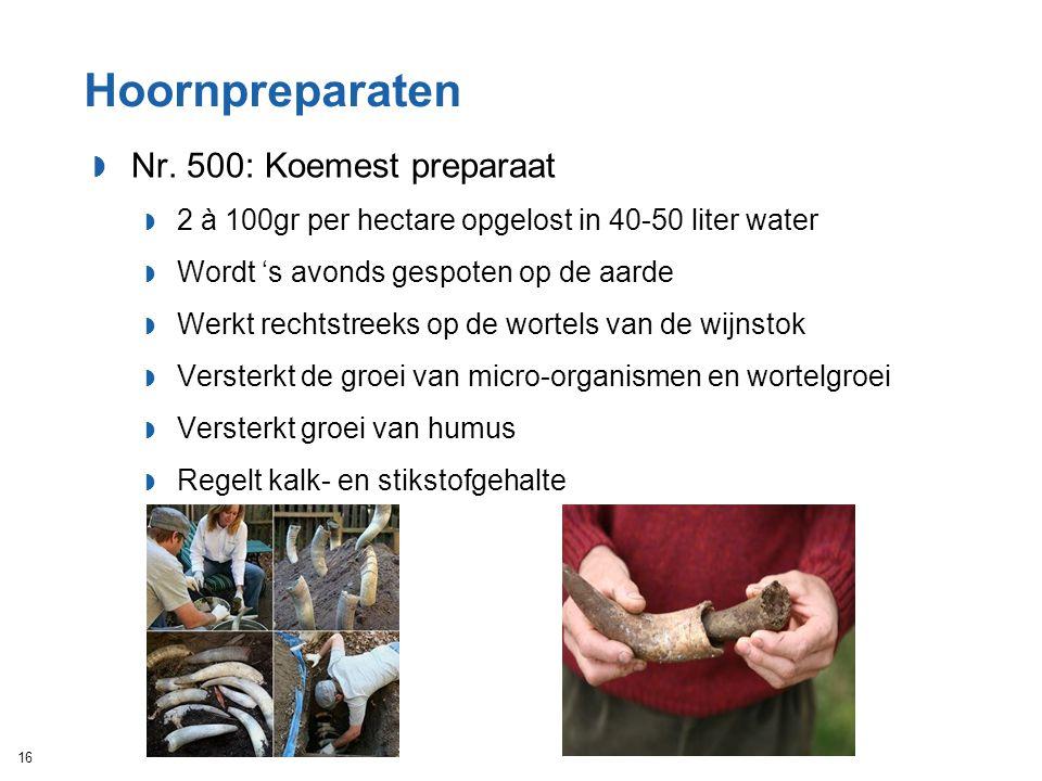 Hoornpreparaten  Nr. 500: Koemest preparaat  2 à 100gr per hectare opgelost in 40-50 liter water  Wordt 's avonds gespoten op de aarde  Werkt rech