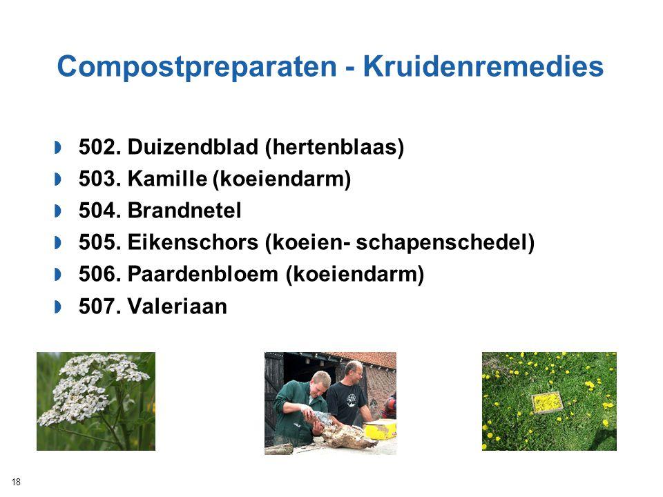 Compostpreparaten - Kruidenremedies  502. Duizendblad (hertenblaas)  503. Kamille (koeiendarm)  504. Brandnetel  505. Eikenschors (koeien- schapen