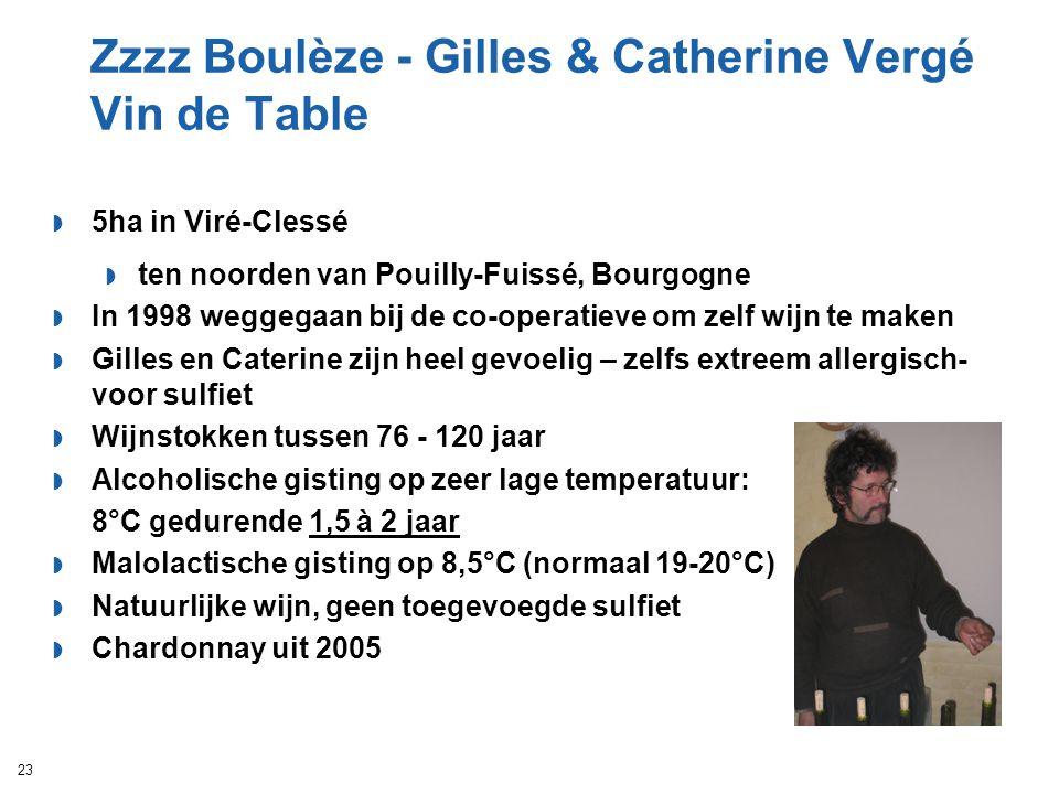 Zzzz Boulèze - Gilles & Catherine Vergé Vin de Table  5ha in Viré-Clessé  ten noorden van Pouilly-Fuissé, Bourgogne  In 1998 weggegaan bij de co-op