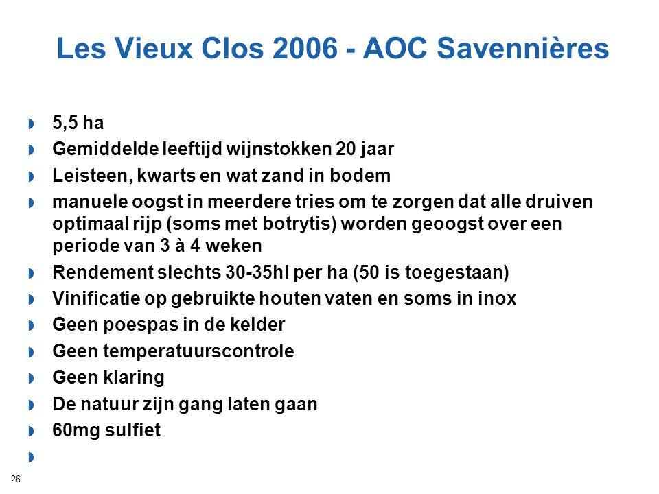 Les Vieux Clos 2006 - AOC Savennières  5,5 ha  Gemiddelde leeftijd wijnstokken 20 jaar  Leisteen, kwarts en wat zand in bodem  manuele oogst in me