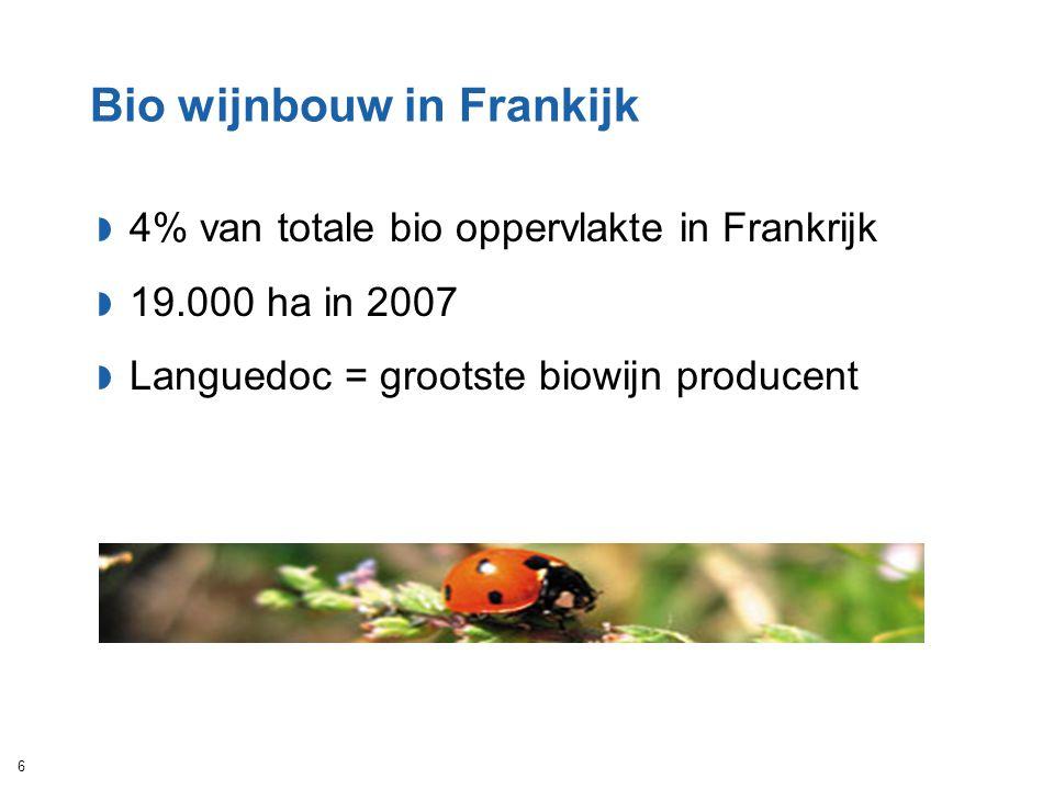 Bio wijnbouw in Frankijk  4% van totale bio oppervlakte in Frankrijk  19.000 ha in 2007  Languedoc = grootste biowijn producent 6
