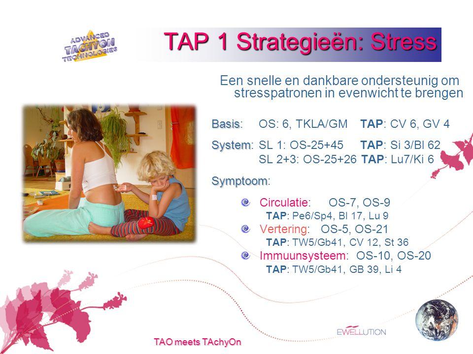 TAO meets TAchyOn Een snelle en dankbare ondersteunig om stresspatronen in evenwicht te brengen Basis Basis:OS: 6, TKLA/GM TAP: CV 6, GV 4 System System:SL 1: OS-25+45 TAP: Si 3/Bl 62 SL 2+3: OS-25+26 TAP: Lu7/Ki 6 Symptoom Symptoom: Circulatie: OS-7, OS-9 TAP: Pe6/Sp4, Bl 17, Lu 9 Vertering: OS-5, OS-21 TAP: TW5/Gb41, CV 12, St 36 Immuunsysteem: OS-10, OS-20 TAP: TW5/Gb41, GB 39, Li 4 TAP 1 Strategieën: Stress
