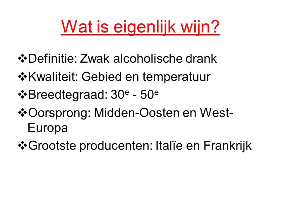 Wat is eigenlijk wijn?  Definitie: Zwak alcoholische drank  Kwaliteit: Gebied en temperatuur  Breedtegraad: 30 e - 50 e  Oorsprong: Midden-Oosten