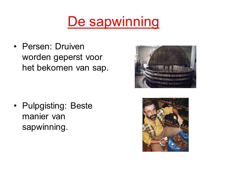 De sapwinning Persen: Druiven worden geperst voor het bekomen van sap. Pulpgisting: Beste manier van sapwinning.