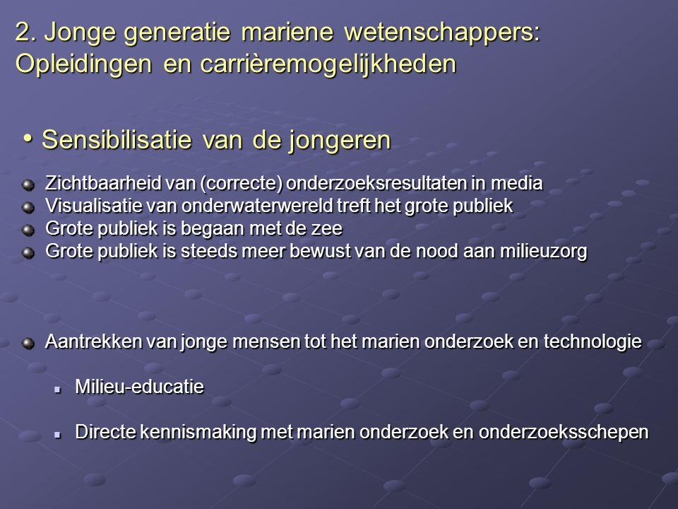 Sensibilisatie van de jongeren Sensibilisatie van de jongeren Zichtbaarheid van (correcte) onderzoeksresultaten in media Visualisatie van onderwaterwe