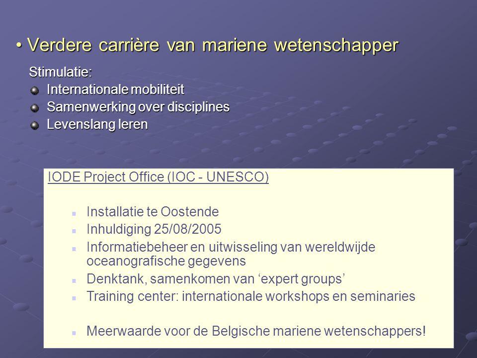 Verdere carrière van mariene wetenschapper Verdere carrière van mariene wetenschapper Stimulatie: Internationale mobiliteit Samenwerking over discipli