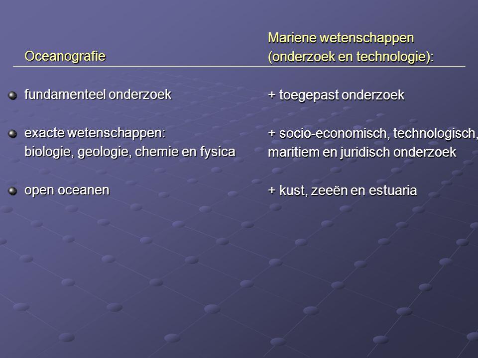 Mariene wetenschappen (onderzoek en technologie): + toegepast onderzoek + socio-economisch, technologisch, maritiem en juridisch onderzoek + kust, zee