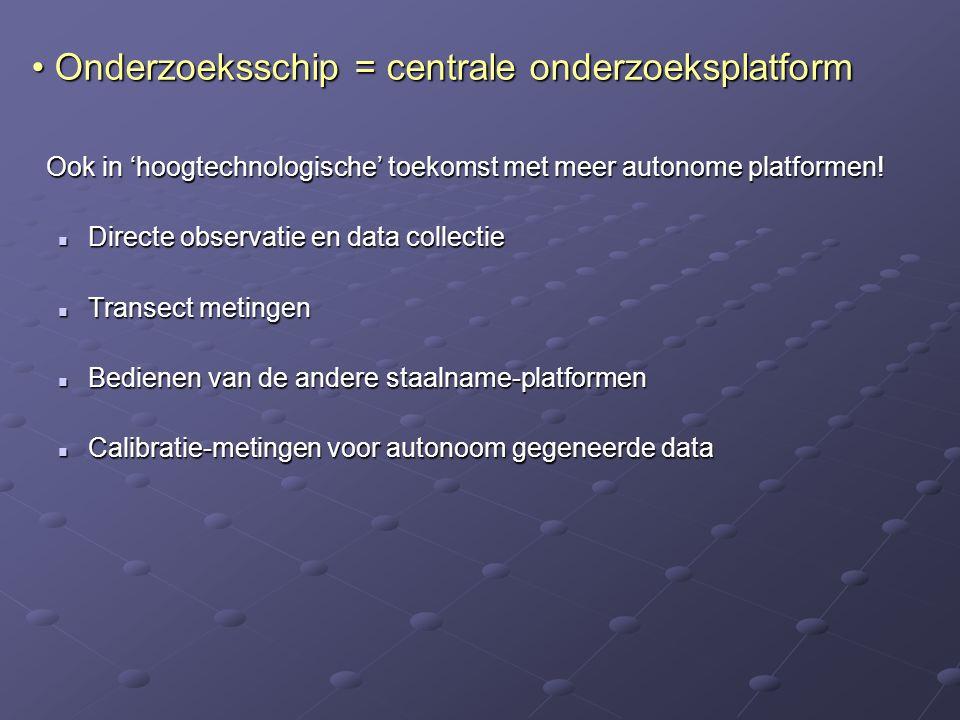 Ook in 'hoogtechnologische' toekomst met meer autonome platformen! Directe observatie en data collectie Directe observatie en data collectie Transect