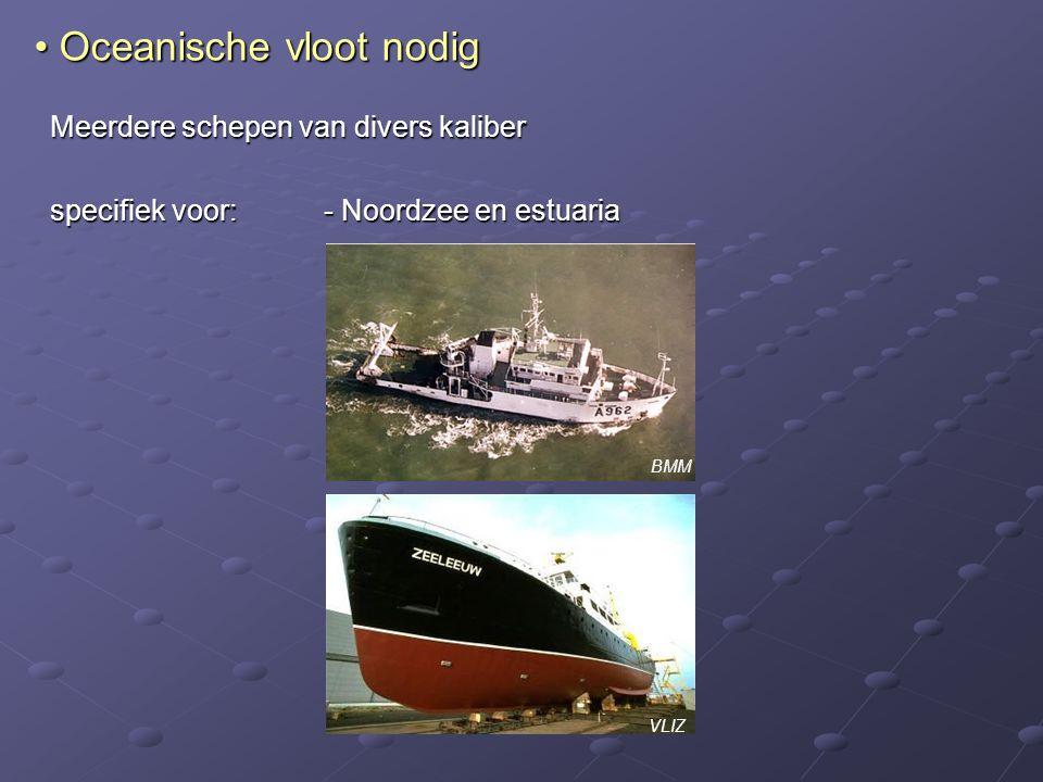 Meerdere schepen van divers kaliber specifiek voor:- Noordzee en estuaria Oceanische vloot nodig Oceanische vloot nodig VLIZ BMM