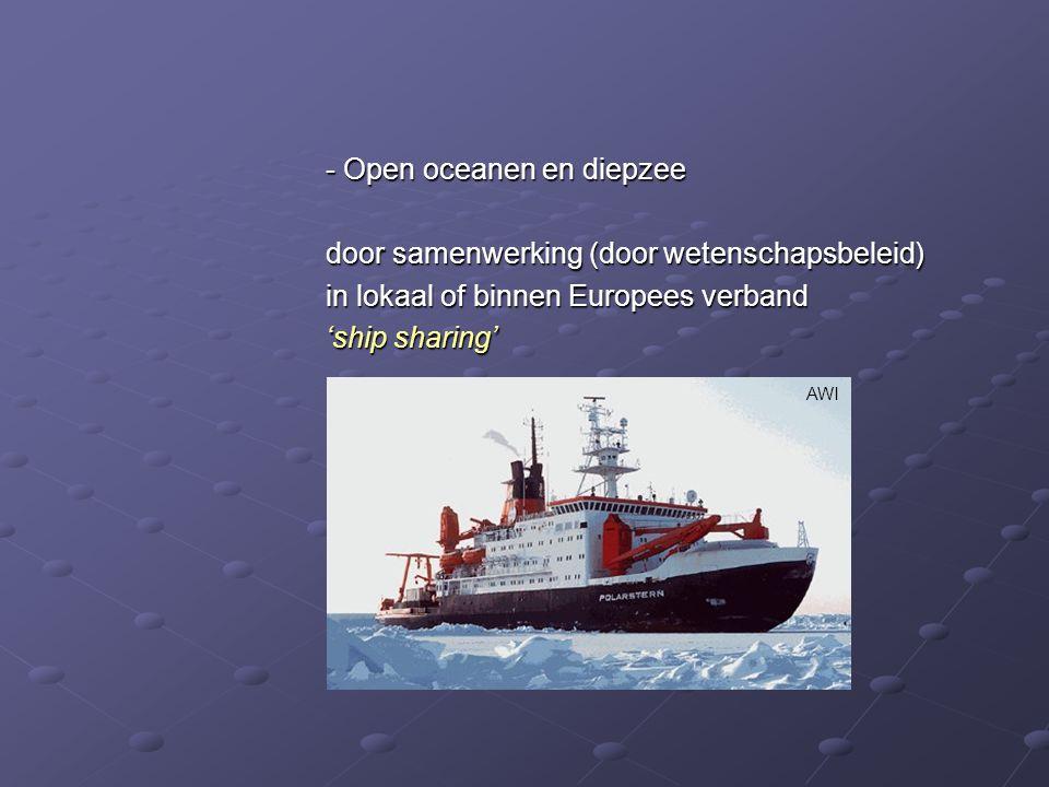 - Open oceanen en diepzee door samenwerking (door wetenschapsbeleid) in lokaal of binnen Europees verband 'ship sharing' AWI